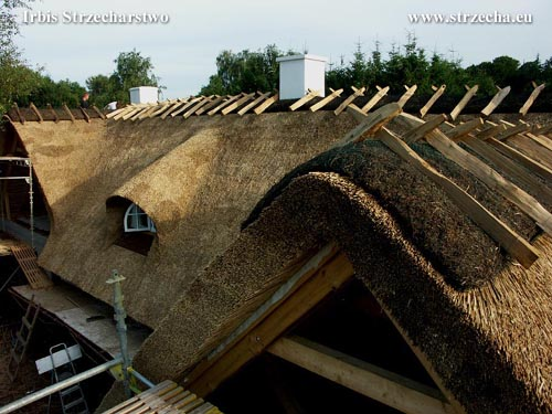 New thatched roof with heather ridge - reed roof Irbis