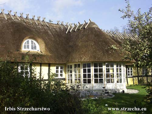 Reed roof - extension of the winter garden to the façade of a thatched building with wooden roof construction