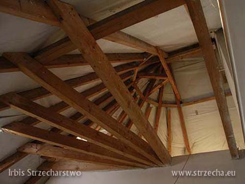 Thatch: wooden roof structure with a windproof membrane attached