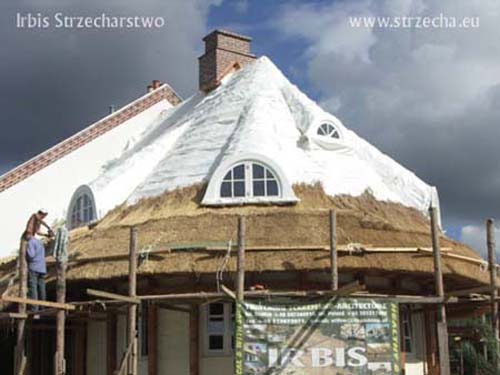 Thatch: chimney clinker, Sepatec - fire insulation of the structure