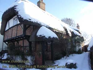 Straw roof in winter scenery, the family seat in Wildshire