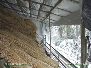 Straw roof covering during winter - England